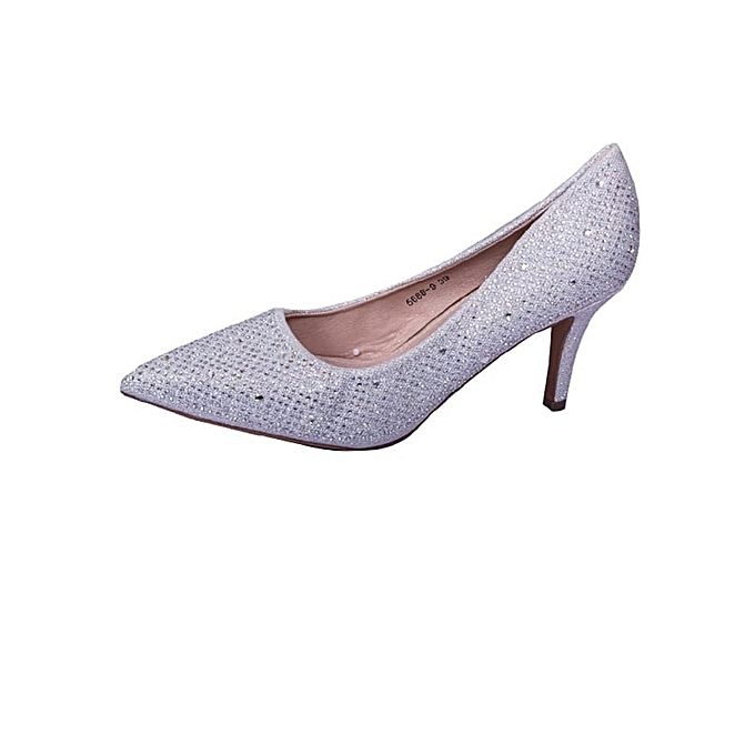 Generic Silver Glitter Women Pointy Toe Pumps   Best Price