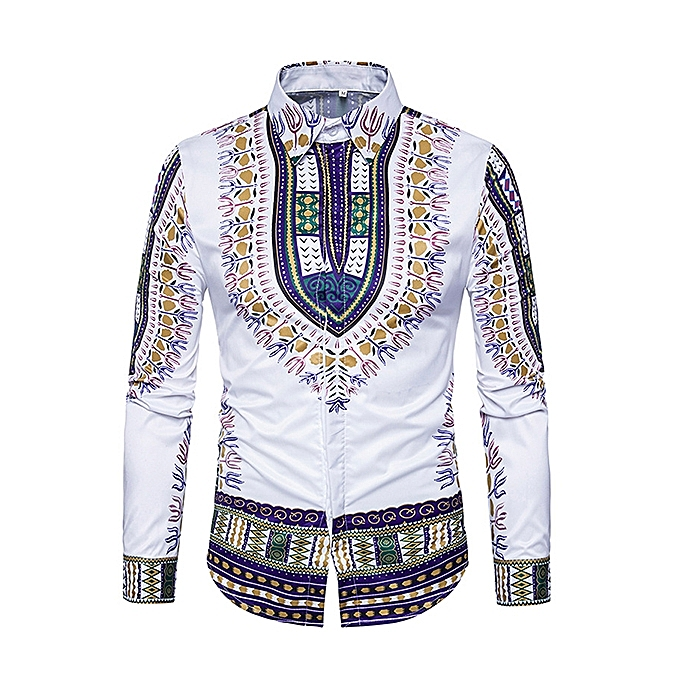 938da00000f National Style Pattern Printing Button up Long Sleeve Chic Designer Shirts  for Men