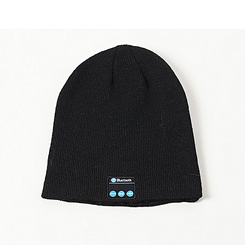 Knitted Bluetooth headset cap black