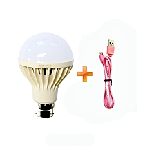 LED Bulb Energy Saving Bulb - White -5W,Get One Free Android Cable