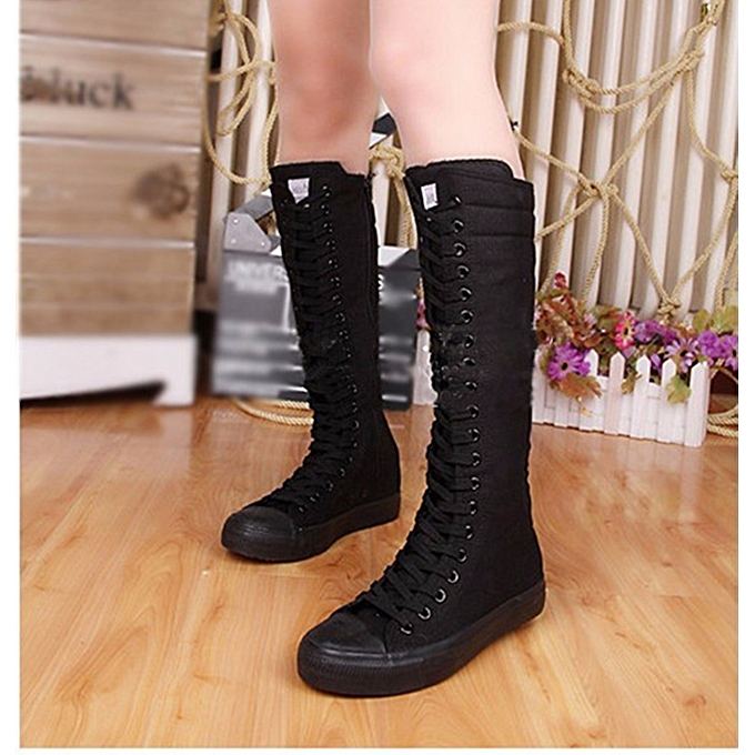 01f7a51bc81b41 Punk Women Canvas Sneakers Tall Mid Calf Lace up Knee High Boots Zip Flat  Shoes