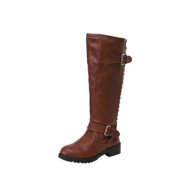 a327dda2a79 Jiahsyc Store Women Ladies Shoes Rivet Roman Riding Knee High Cowboy Boots  Martin Long Boots-Brown