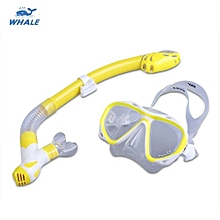 WHALE Professional Diving Water Sports Training Silicone Mask Snorkel Glasses Set_YELLOW