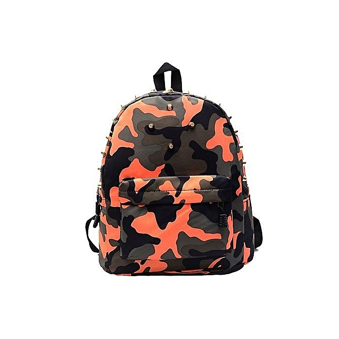 bluerdream-Children School Bag Rivets Camouflage Backpack Cute Baby Toddler OR-Orange