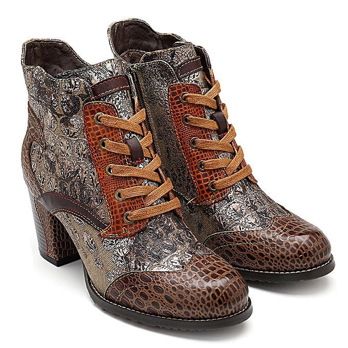 86661ad6a6 SOCOFY Women Boots Desert Genuine Leather Splicing Zipper Ankle Square Heel  Shoe