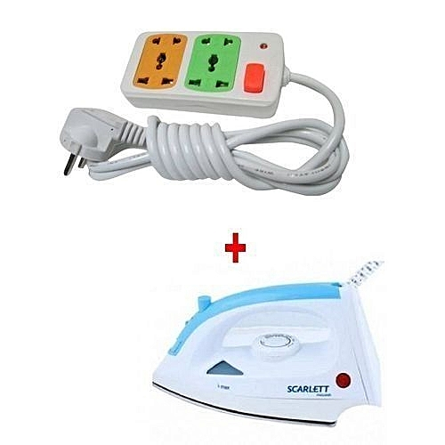 Steam Iron Box with FREE 4-way Socket Extension Cable - 1200W - White & Blue