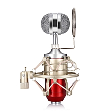 LEIHAO BM - 8000 Professional Sound Studio Recording Condenser Microphone with 3.5mm Plug Stand Holder RED