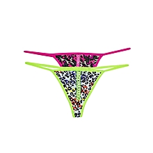 Pink  And  Lime Green Mixed Pattern Thong