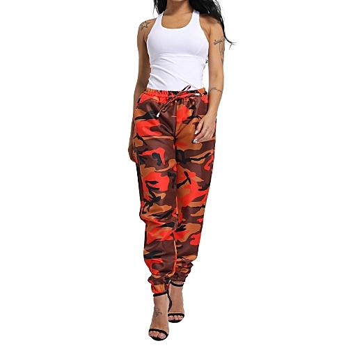 e67d1c7785b69 Generic jiuhap store Women Sports Camo Cargo Pants Outdoor Casual Camouflage  Trousers -Orange