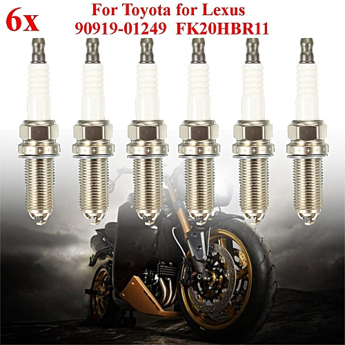 6 Pieces Denso Iridium Spark Plugs For Toyota / Lexus OEM# 90919-01249  FK20HBR11