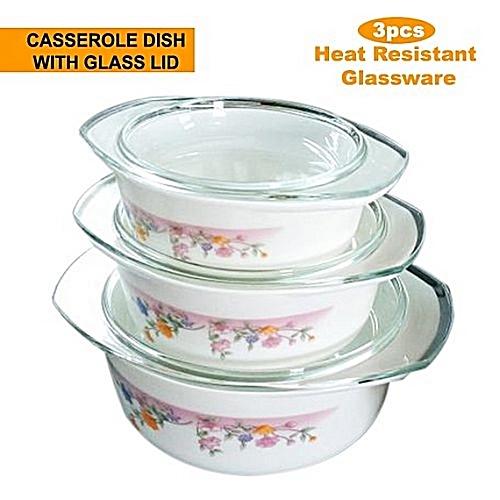 3pcs Opal Glass Ware Casserole Bowl Set with Lid - Food Serving Dish Bowl