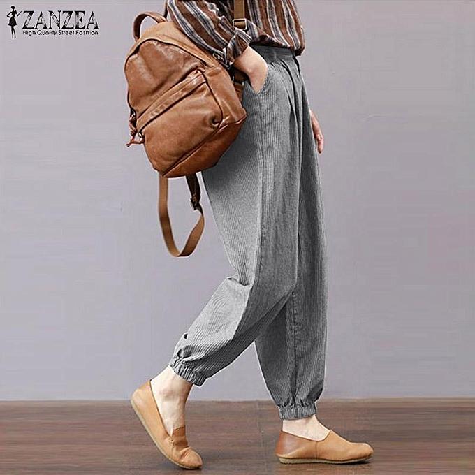 046c87736c7 ... ZANZEA Women Plus Size Striped Trousers Office OL Work Retro Tapered  High Waist Pants ...