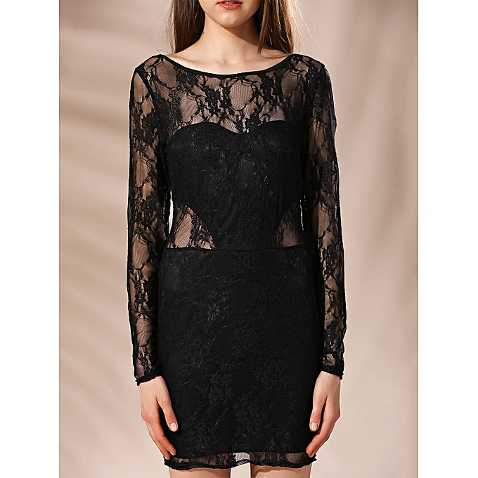 fce782e6b625 Fashion Mini Low Back Lace Long Sleeve Fitted Dress @ Best Price ...