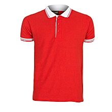 Red Men's T-Shirt With Striped Collar