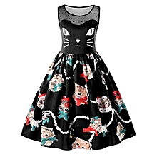 Kitten Print Sleeveless Swing Dress - BLACK