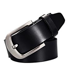 Men's leather belt wild pin buckle leather wide belt men's JEEP retro national wind belt-105CM-black
