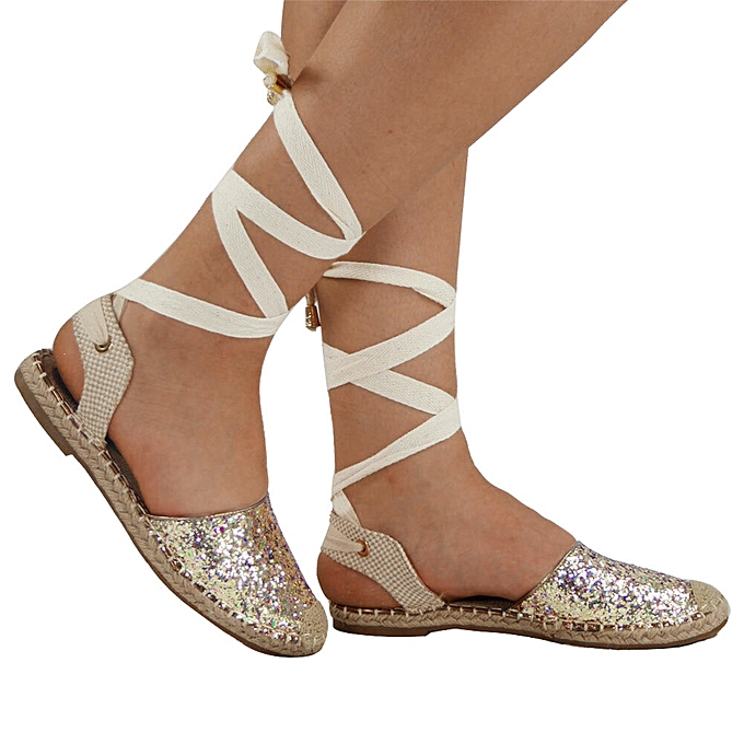 332fec9c26b6 koaisd Women Straw Round Toe Flat Casual Sequin Shoes Cross Strap Rome  Style Sandals-Gold