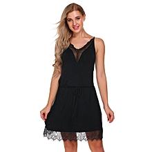 Women Spaghetti Strap Lace Trim Nighties Sleepwear Dress ( Black )