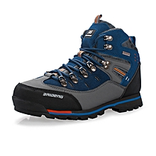 Winter Autumn Leather Men Hiking Mountain Climbing Shoes Anti-skid Waterproof Outdoor Trekking Shoes Wearable High Quality - Blue