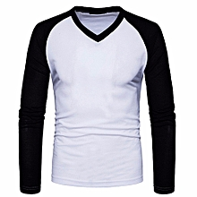 Mens Casual Long Sleeve Shirt Slim Fit Shirt V Neck Patchwork  Blouse Top - White