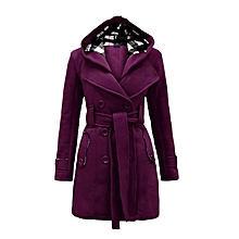ae50f5076e2 New Plaid Hooded Coat Belt Double-Breasted Long Jacket-Purple
