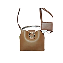 2 In 1 Ladies Leather Handbag - Brown