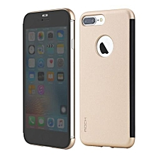 """ROCK Dr.v Series Flip Case For IPhone7 Plus 5.5 """" Inch Slim Phone Case With Full Screen Protection Without Opening To Answer Call(Gold)"""