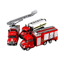 Hot 1 Set 3 Pieces Toys Children Toy Cars Fire Truck Construction Vehicle Cars Model Alloy Model Simulation # 7 Red