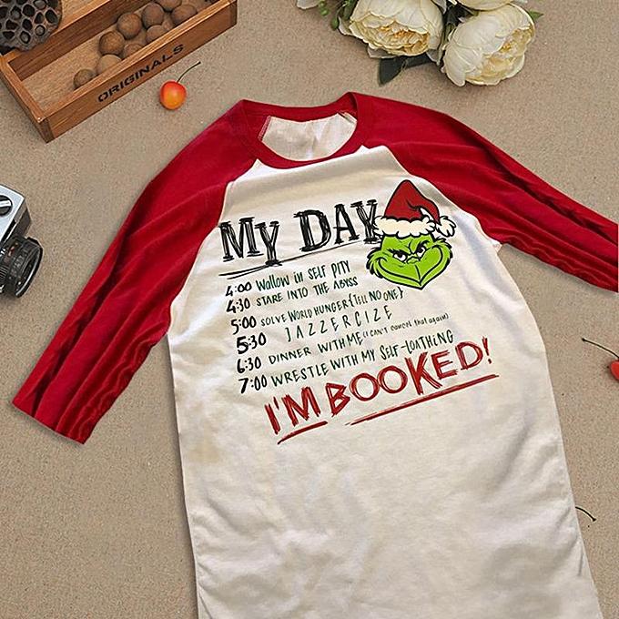 27303fb4ecb80e ... Christmas Xmas Grinch I'M Booked Crew Neck Long Sleeve Top T-Shirt ...