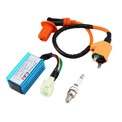 allwin performance racing cdi+ignition coil+spark socket gy6 50/125/150cc  scooter atv orange&blue @ best price online | jumia kenya