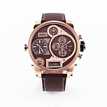 Watches, 9316B Male Clock 3 Time Casual Leather LCD Display Sports Fashion Quartz Men Watch - Brown