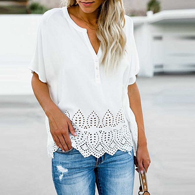 5a1be40f13c4d7 Hiaojbk Store Women s Chiffon Tops V-neckline Hollow Blouse Short Sleeve  Button Casual Shirts- ...