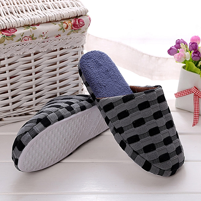 574160025c36 Fashion Hiamok  Winter Men Indoor Home Shoes Faux Fur Warm Slippers ...