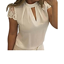 Women Casual Chiffon Short Sleeve Splice Lace Top Blouse