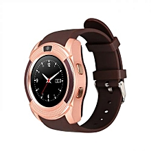 V8 Touch Screen Sports Round Screen Smart Phone Watch - Gold Brown
