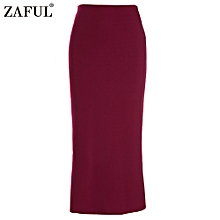Sexy Pencil Ankle-Length Long Beach Party Slim Flare Skirts - Red Wine - Red Wine - 12