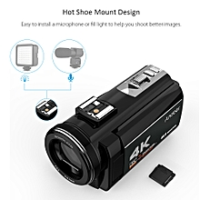 Portable 4K  48MP WiFi Digital Video Camera Camcorder with External Microphone and 0.39X Wide Angle Lens 3.0 Inch Touch Screen IR Infrared Night-shot 16X Digital Zoom with 1pc 2500mAh Rechargeable Camera Battery