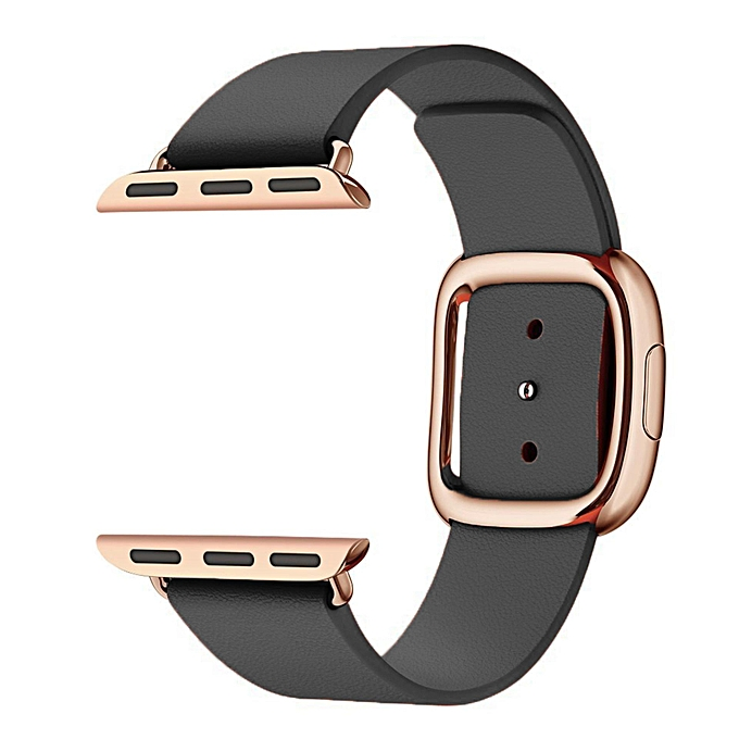 Generic Rose Gold Modern Buckle Adapter Genuine Leather Watch Band