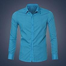 Mens Luxury Stylish Casual Dress Slim Fit T-Shirts Casual Long Sleeve BU/M-blue