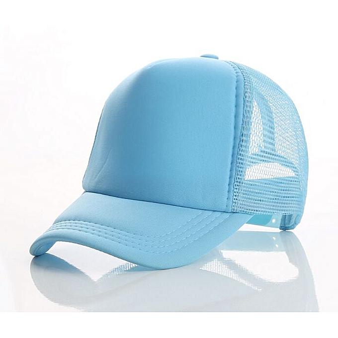 9455d5095 Accept 1 Piece DIY OEM Custom LOGO 100% Polyester Men Women Baseball Cap  Mesh Snapback Print Logo Trucker Hat(02 Light blue)
