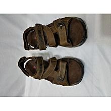 Men's Open Toe Leather Flat Sandals