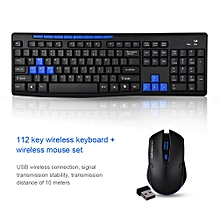112 Key Wireless Keyboard and Mouse Combo with USB Receiver for Gaming / Office