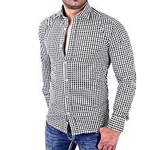 Men's Plaid Shirts Male Long Sleeve Slim Fit Business Casual Shirt