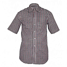 Multicolored Checked Men's Short Sleeved Shirts