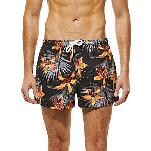 4259f38a82 Fashion Xingbiaocao Fashion Men Breathable Trunks Pant Flower Print Swimwear  Beach Shorts Slim Wear -Yellow
