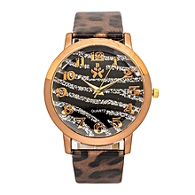 Brown Animal Print Wrist Watch With  Faux Leather Strap