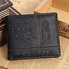 Africanmall store Men Paris Leather Card Cash Receipt Holder Organizer Bifold Wallet Purse-Black