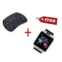 Bluetooth Mini Wireless QWERTY Keyboard And Mouse And Free DZ09 Smartwatch - Black And Silver