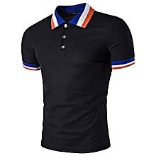 Color Block Collar Polo T-Shirt - Black