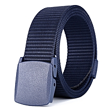 Sports outdoor lightweight nylon environmental protection belt smooth plastic buckle tactical belt-125CM-blue